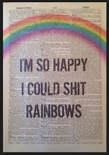 Rainbows Funny Quirky Quote Vintage Dictionary Print Art Picture Happy Happiness