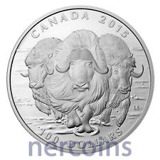 Canada 2015 Canadian Muskox $100 1 Oz Pure Silver Matte Proof Coin Perfect
