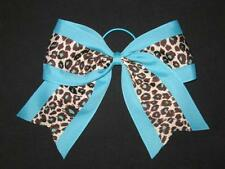 "NEW ""TEAL BLUE LEOPARD"" Cheer Bow Pony Tail 3 Inch Ribbon Girls Cheerleading"