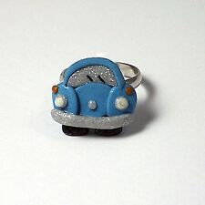 blue beetle bug ring adjustable glow in the dark