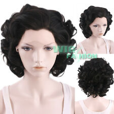 "10"" Short Black Mixed Dark Brown Curly Lace Front Synthetic Wig"