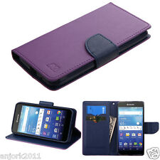 For Kyocera Wave C6740 Diary Style Folio Pouch Case w/Stand Cover Purple/Blue