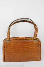 VINTAGE Sac LANCEL PARIS Croco Fauve TBE