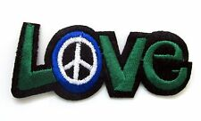 Love Peace Symbol Sign Iron On Patch- Peace Badge Hippy Embroidered Applique