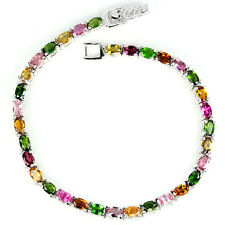 Silver 925 Genuine Natural Colours of Tourmaline/Chrome Diopside Bracelet 7 Inch