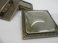 Vintage Square Bronze Brooch  Kit 3 settings & Cabochons.35x35mm,tray 25x25mm