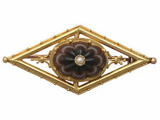 Banded Agate and Pearl, 15 ct Yellow Gold Brooch - Antique Circa 1860