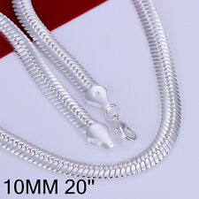 """925Sterling  Silver Solid Silver Flat Snack Chain Men Necklace 10MM 20"""" GN209"""