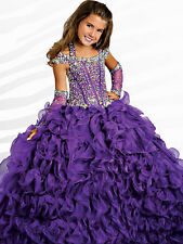 Pretty Flower Girl Dress Beading Kids Pageant Party Ball Gown Size 6 8 10 12 14.