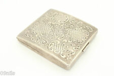 SOLID SILVER ART DECO Cigarette Case German Continental Ornate decor ART NOUVEAU