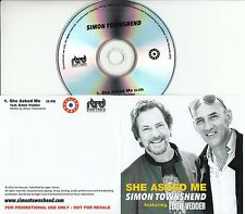 SIMON TOWNSHEND feat. EDDIE VEDDER She Asked Me 2016 UK 1-trk promo test CD