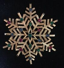 SIGNED CROWN TRIFARI RED BLUE & GREEN  RHINESTONE SNOWFLAKE PIN BROOCH GOLD TONE