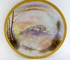 "Antique 10.25"" Hand Painted Porcelain Scenic Haviland Limoges Dinner Plate #6"