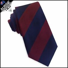 Navy Blue and Dark Red Stripes Slim Tie