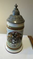 Vintage German Porcelain Painted Scenes Regimental Pewter Lidded Lithopane Stein