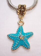 Blue Starfish Rhinestone Beach Sea Gold Dangle Bead for European Charm Bracelet