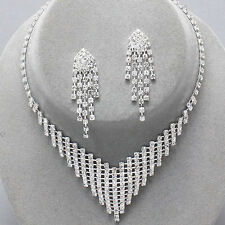 Sparkly prom bridal jewellery set diamante crystal necklace and earrings 0371