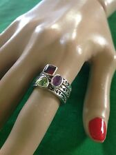 Silpada R0455 Set Of 3 Stackable Rings Peridot, Garnet, Amethyst Size 8