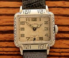 1930 Illinois Manhattan Art Deco Engraved Enameled Men's Cushion Vintage Watch