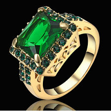 Rings Green Emerald CZ Crystal Simulated Gold Rhodium Plated Size 6 Wedding