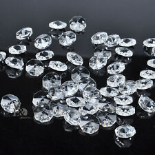 New 100pc 2 Hole Clear Octagon Crystal Glasses Beads Chandelier Chain Parts Gift