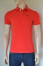 NEW Abercrombie & Fitch Cooper Kiln Cotton Pique A&F Logo Polo Shirt Red S