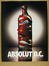 1995 Absolut D.C. washington dc red tape vodka bottle photo vintage print Ad