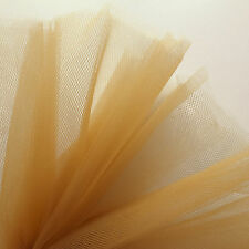 Gold Tan Brown Fine Tulle net fabric 300cm wide, sold by the M, veil pleat rusch