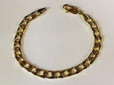 "14k Solid Yellow Gold Men's Curb Link Bracelet  6.5 mm 18 grams 8.5"""
