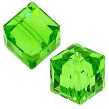 6 #5601 Swarovski Austrian Crystal Beads - Peridot - 6mm Cube (6 pcs)