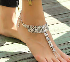 One Women's Charm Silver Chain Ankle Bracelet Foot Jewellery Barefoot Sandal