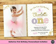 BALLERINA PERSONALISED INVITATION INVITE 1ST FIRST BIRTHDAY PARTY PHOTO BALLET