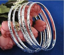 925 Sterling Silver Plated Set of 5 bracelet bangles w etchings