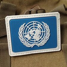UN United Nations U.N. Badge PVC TACTICAL ARMY PATCH /SQUARE BLUE