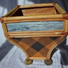 MacKenzie Childs Landscape Rattan Bamboo Vivaldi Waste Basket with Brass Legs