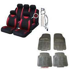 CARNABY RED CAR SEAT COVERS+RUBBER FLOOR MATS Peugeot 107 108 207 307 308 407