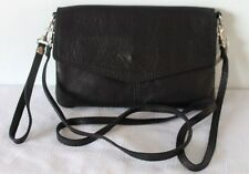 Black Italian Leather Foldover Clutch Cross Body Bag with Detachable Straps
