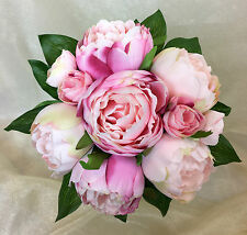 Light Pink/Pink Peony Flowers Posy Artificial Silk Flower  Wedding Bouquet