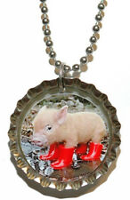 ADORABLE PIG BOTTLE CAP NECKLACE (CAP035a)