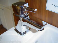 SQUARE MINI BASIN MIXER TAP SET CHROME MONOBLOCK TAPS SINGLE LEVER NO WASTE