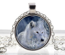 Arctic White Wolf Necklace - Fantasy Jewelry - Polar Wolf Pendant - Animal Gifts