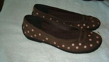 Women's Primo by Clarks Brown Nubuck Leather w/Pink Polka-Dots Ballet Flats-6M