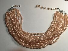 """Stunning Vintage 1950's signed Japan 8 Strand Pale Pink Faux Pearl Necklace-19""""L"""