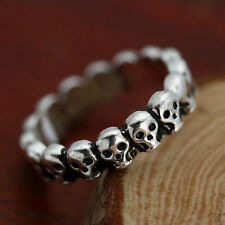7# Fashion Punk Gothic Lot Skull Simple Biker Men's Silver Stainless Steel Ring
