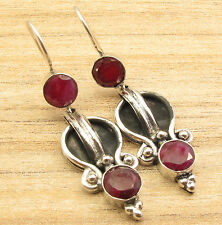 Red RUBY 2 Gems FIX WIRE Earrings 7.1 Grams ! Silver Plated Stylish ART Jewelry