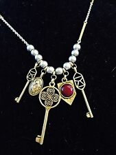 Lucky Brand Long Silver Beads & Gold Key Charms Necklace New Tags MSRP $49