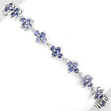 Sterling Silver 925 Genuine Natural Iolite Gemstone Flower Bracelet 7.75 Inches
