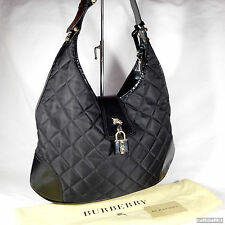 Rare Burberry Black Quilted Canvas Hobo Shoulder Bag Purse Excellent Condition