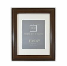 11x14 Brown Color Photo Frame 2-inch wide with Ivory Mat for 8x10 Picture