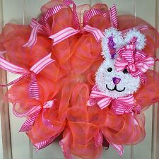 Hand Crafted Easter Deco Mesh Wreath #145
